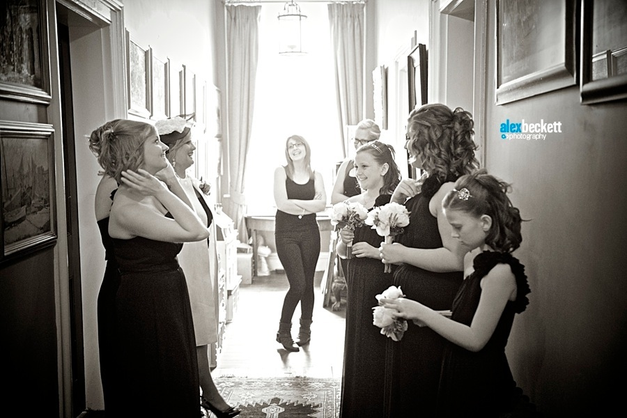 5 Bridesmaids waiting at Anstey Hall Cambridge