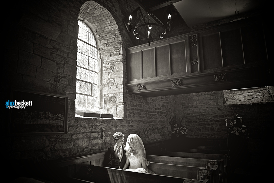 27 bride and groom wedding at St Nicholas Church studland dorset