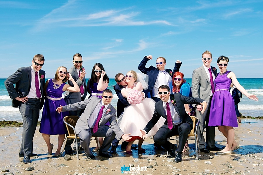 Bridal Party Wedding Beach St Agnes Cornwall