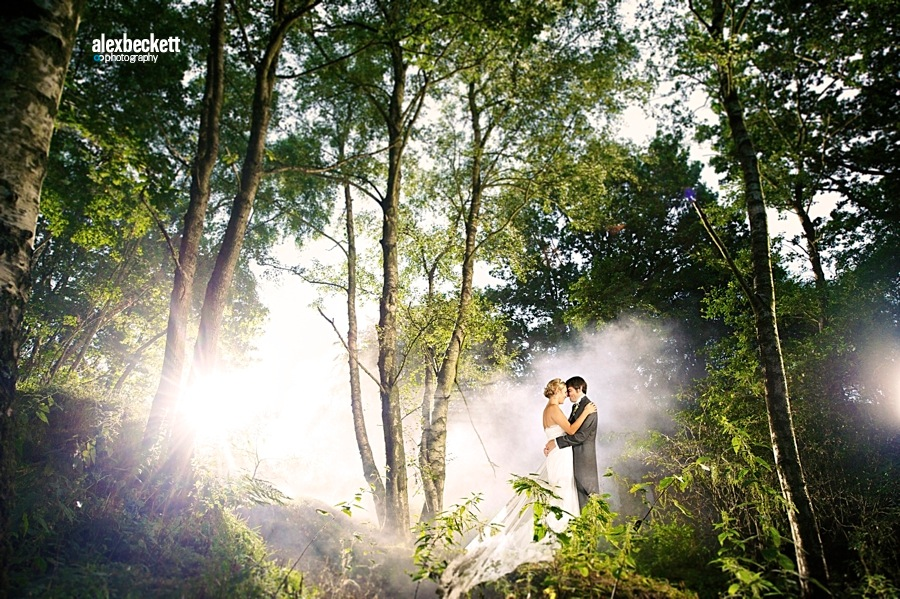 01 Bride and Groom in Woods on their wedding day Q leisure Albourne West Sussex