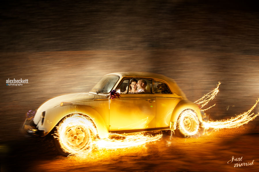 Dodford Manor Northampton Wedding VW beetle bride and groom sparklers