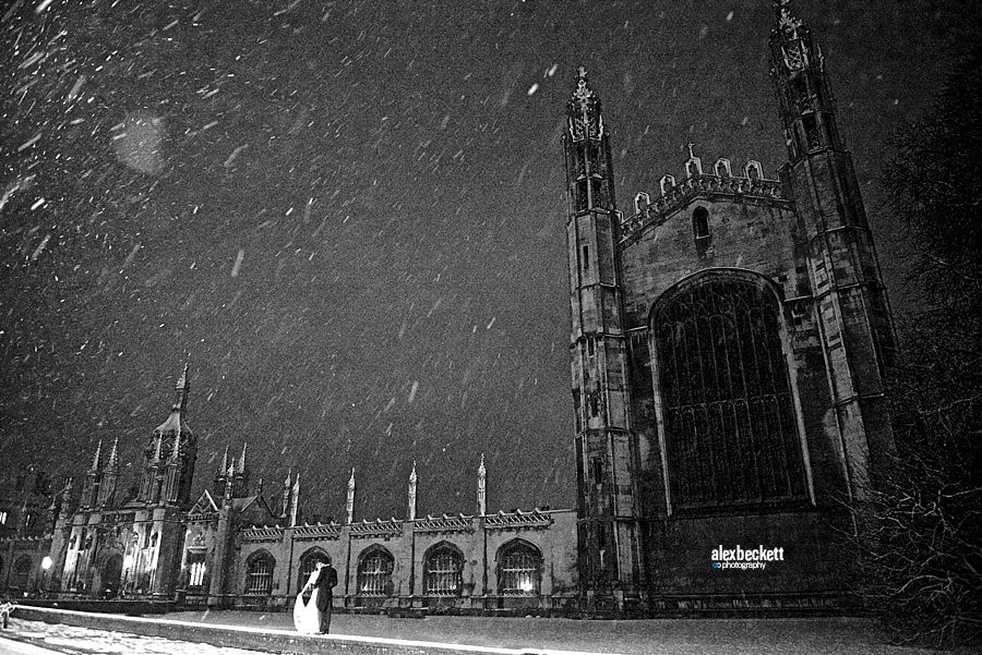 Alex Beckett Kings College Cambridge Snow Wedding