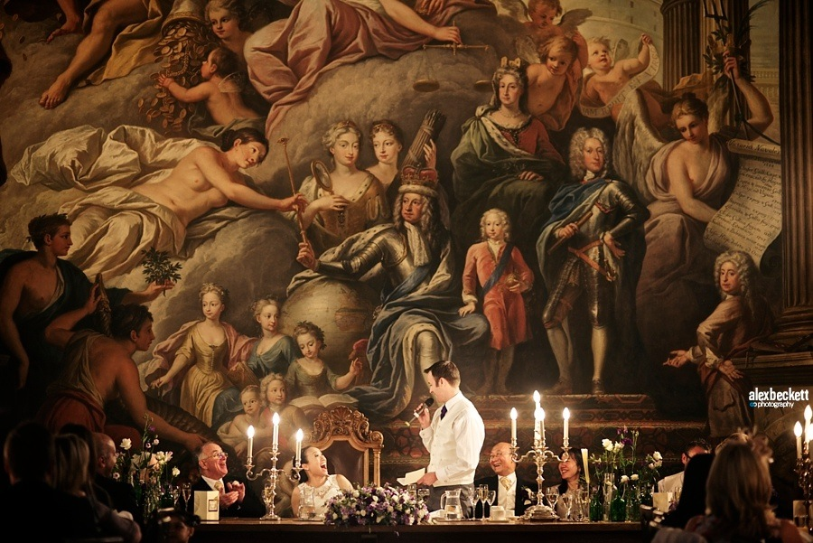 1 AlexBeckett bride and groom in the painted hall at Greenwich Royal Naval College