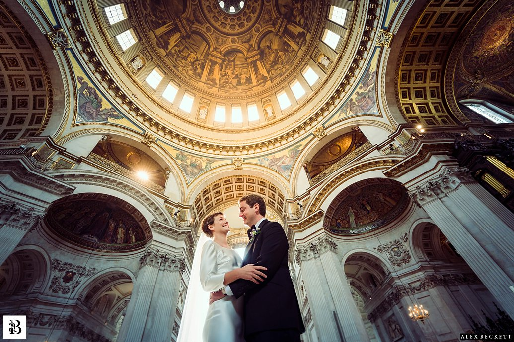 St Pauls Cathedral Dome Wedding Bride and Groom