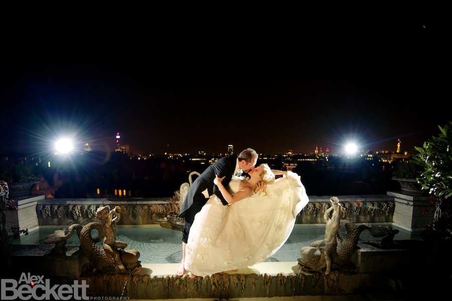 Bride and Groom hit the fountains at the Penthouse Pavilion of the Dorchester Hotel London on their wedding day.