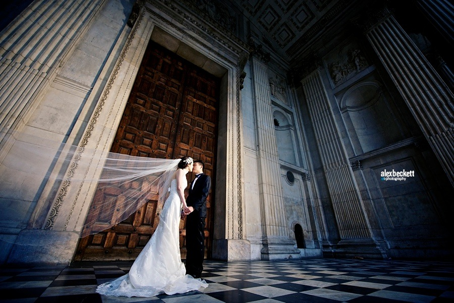 Bride and Groom wedding portraits at St Paul's Cathedral London
