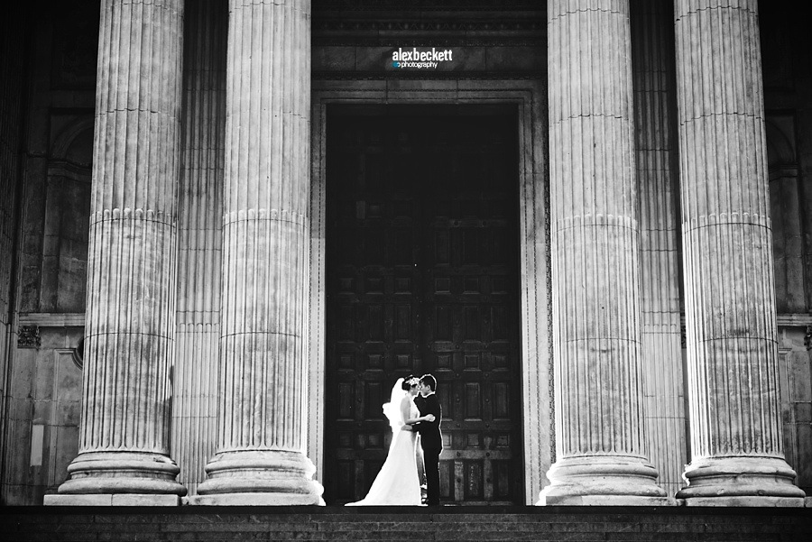 Wedding portraits bride and Groom at St Paul's Cathedral London