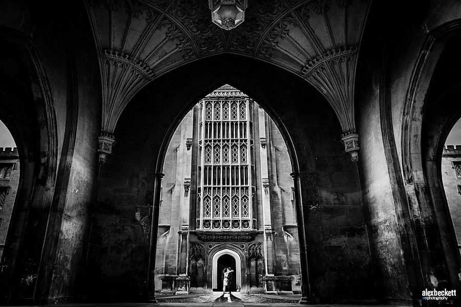 Wedding Pre-Wedding Photograph Couple at St John's College Cambridge in Black and White, Epic Atristic Hogwarts style portrait