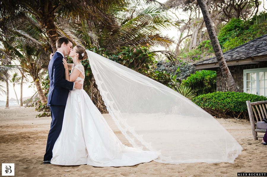 AlexBeckett-90 Destination Wedding Photographer Caribbean Mustique St Vincent Grenadines Sunrise House Wedding Bride and groom beach wedding
