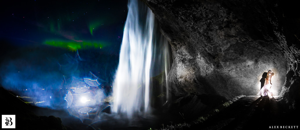 Northern Lights Wedding Photo Waterfall Seljalandsfoss Iceland. Best Epic Wedding Photos Unbelieveable