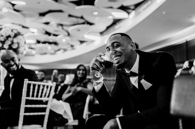 Having fun with a roomful of friends - how we've all missed that! For me, there's an awful lot of be said for a big wedding – the energy and happiness that comes from a load of people who really want to celebrate the two of you.  @thegrovehotel  #thegrovehotelwedding #thegrovehertswedding #hertfordshirewedding #bigwedding #joyoffriends #celebrateyourweddinginstyle #sony #sonyportraits  #reportage #fearlessphotographers