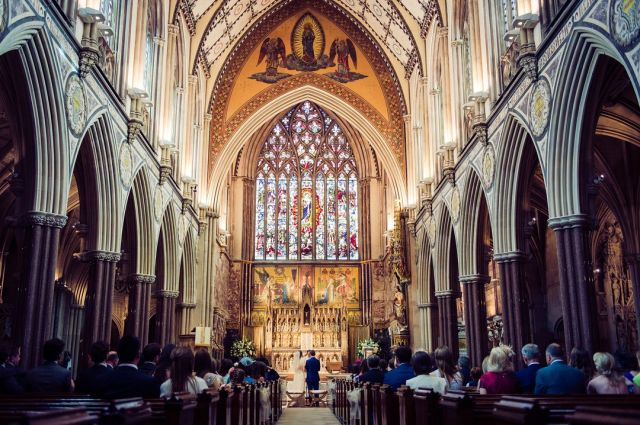 Epic architecture forms a part of your wedding day memories.  @farm_street_church   #farmstreetchurchwedding #londonwedding #churchwedding #churchoftheimmaculateconceptionwedding #londonweddingphotographer #grandwedding